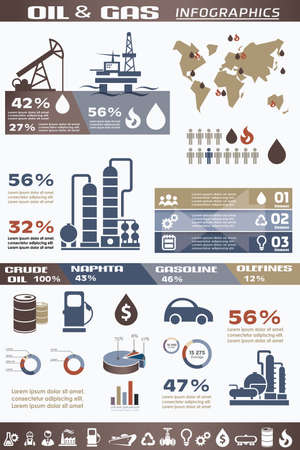 oil and gas industry infographics, extraction, processing and trasportation Stock Illustratie