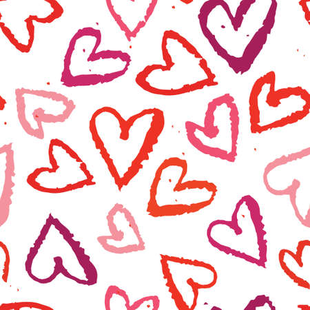 abstract seamless background, watercolors heart symbols Vector