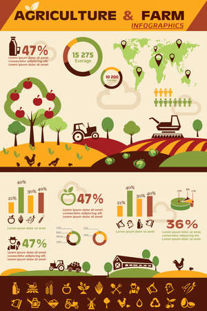 granja: la agricultura y la cría de infografía, vector de recogida de Iconos