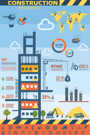 construction equipment: building and construction infographics, vector icons set, design elements Illustration