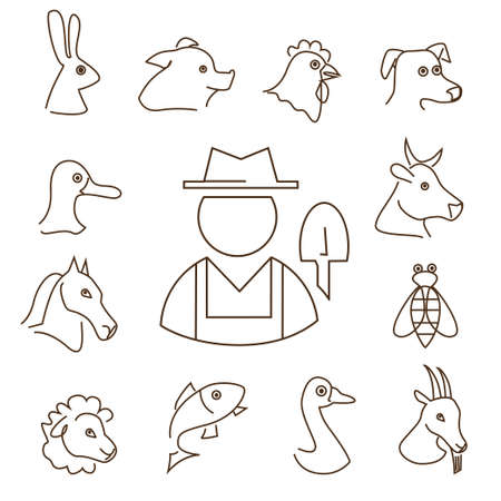 closeup cow face: farm animals linear icons set, thin lines silhouettes of animals heads