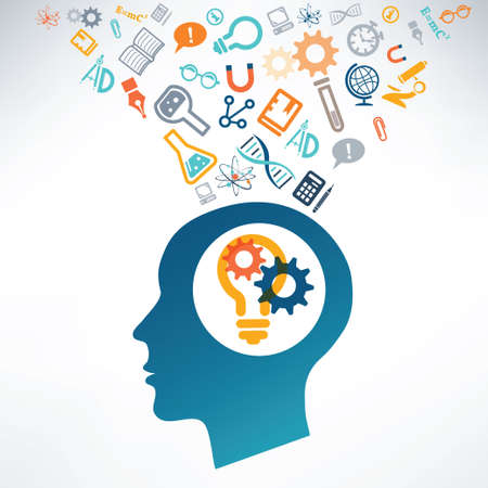 discoveries: Human head and science icons. The concept of scientific discoveries. The idea of learning.