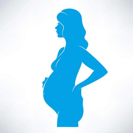 siluetas mujeres: símbolo de la mujer embarazada, dibujo vectorial estilizada
