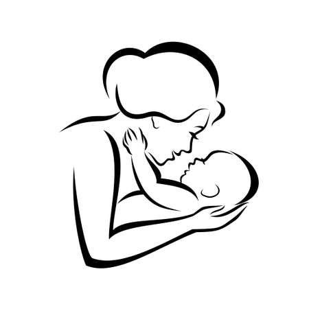 mom daughter: mother and baby stylized vector symbol Illustration
