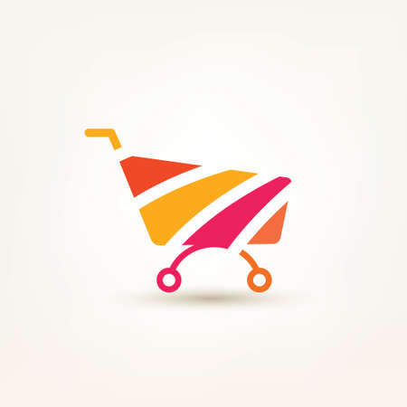 add to cart: shopping cart simple icon, e-commerce, and internet marceting conceptual symbol Illustration