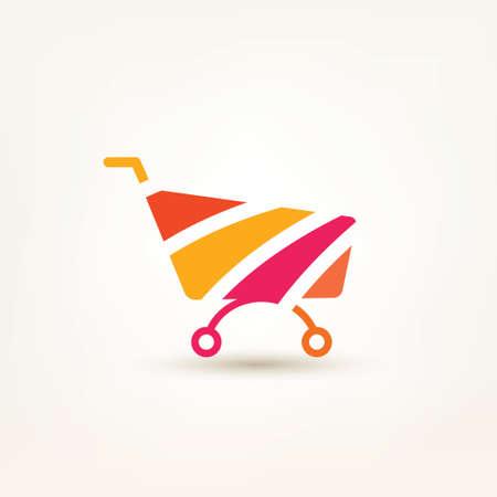 conceptual symbol: shopping cart simple icon, e-commerce, and internet marceting conceptual symbol Illustration