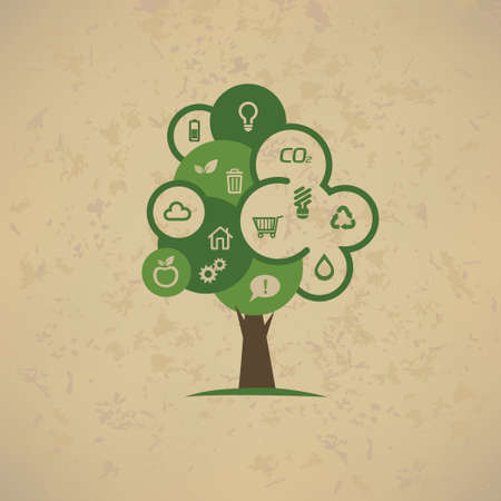 enviromental: eco tree with enviromental icons set