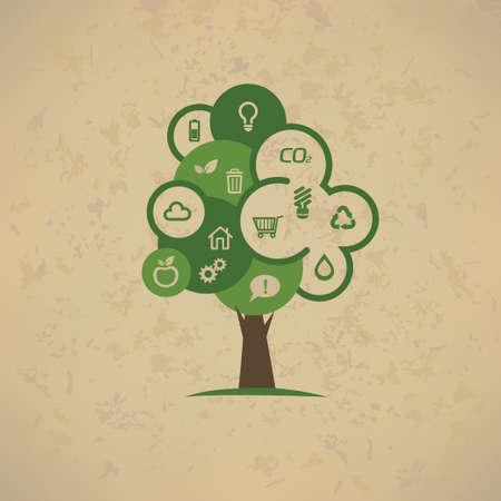 basura organica: árbol con iconos de eco ambientales establecidos