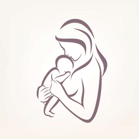 mom and baby stylized vector symbol, outlined sketch Illustration