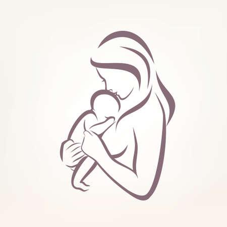 Mutter und Kind stilisierte Vektor-Symbol, skizziert Skizze
