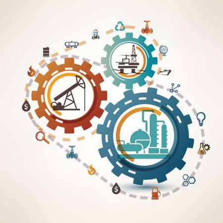 industria petroquimica: la industria del gas y petróleo infografía, extracción, procesamiento y transportación, el proceso y los iconos