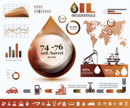 oil and gas industry infographics, extraction, processing and trasportation Vector
