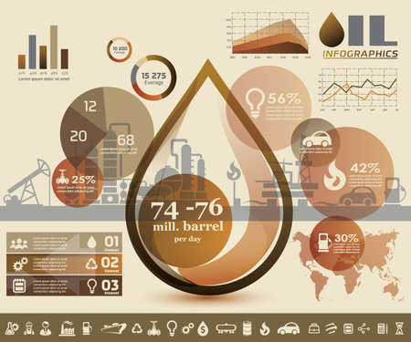 petrochemical plant: oil and gas industry infographics, extraction, processing and trasportation Illustration