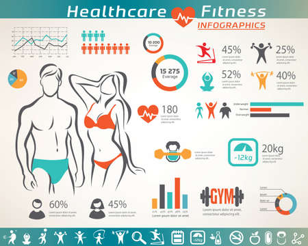 fitness and wellness infographic, active people icons set