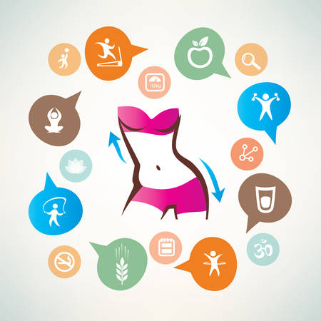 flexible woman: fitness and body care infographics, icons collection, slim waist, active woman concept Illustration