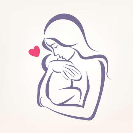 silueta niño: mamá y el bebé símbolo estilizado, dibujo esbozado