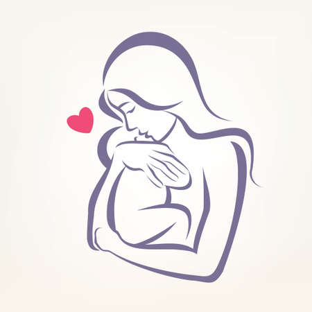 babies and children: mom and baby stylized symbol, outlined sketch