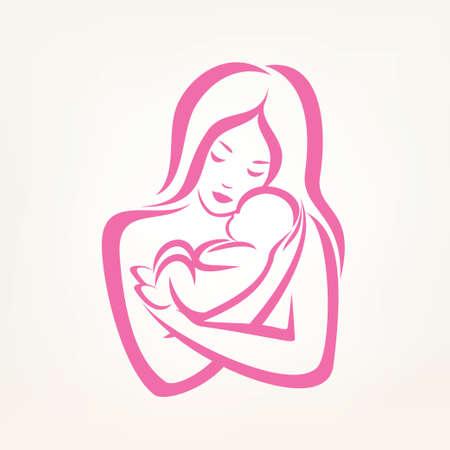 ママと赤ちゃんの様式化されたベクトル記号、輪郭を描かれたスケッチ