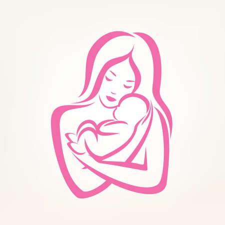 mother days: mom and baby stylized vector symbol, outlined sketch Illustration