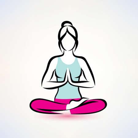 Loto pose de yoga, las mujeres el concepto de bienestar Foto de archivo - 38207560