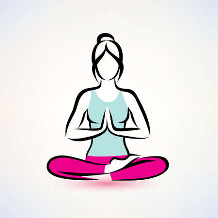 yoga lotus houding, vrouwen wellness-concept Stock Illustratie