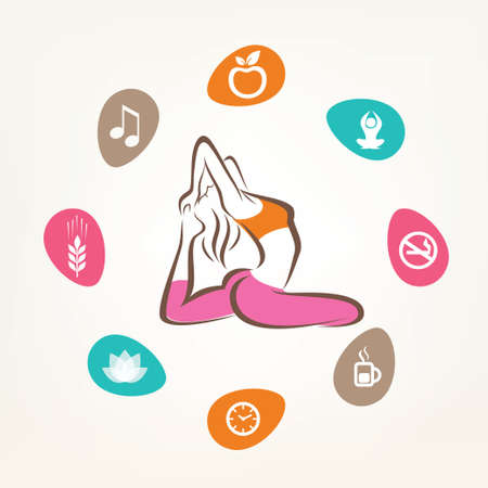 healthcare and fitness infographics, yoga pose Vector