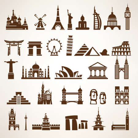 china wall: big set of world landmarks and historic buildings vector silhouettes and icons
