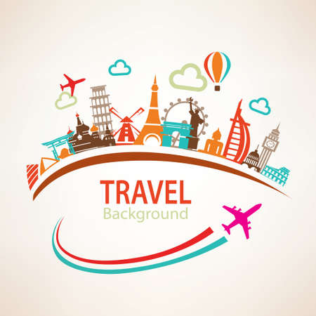 transportation travel: world travel, landmarks silhouettes icons set Illustration