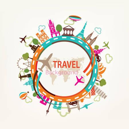 wereldbol: wereld reizen, oriëntatiepunten silhouetten pictogrammen instellen Stock Illustratie