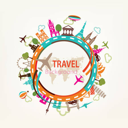 world travel, landmarks silhouettes icons set