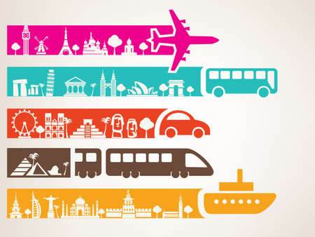 world travel by different kinds of transport, landmarks set Stock Illustratie