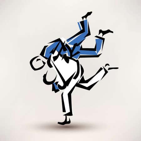 judo: judo símbolo vector, un luchador lanzar otro