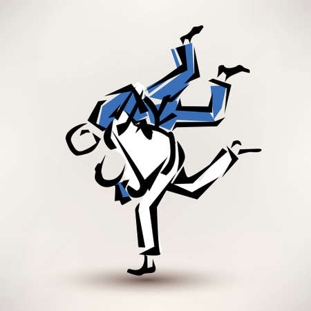 arts symbols: judo vector symbol, one wrestler throw another Illustration