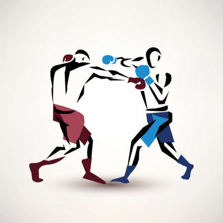 kickboxing: boxing couple, vector silhouette, stylized sketch
