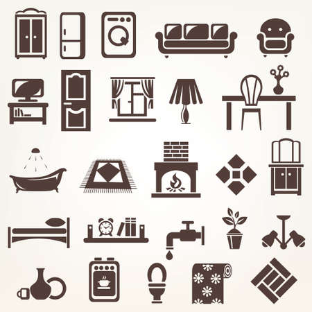 sofa bed: big set of furniture and home related silhouettes and icons Illustration