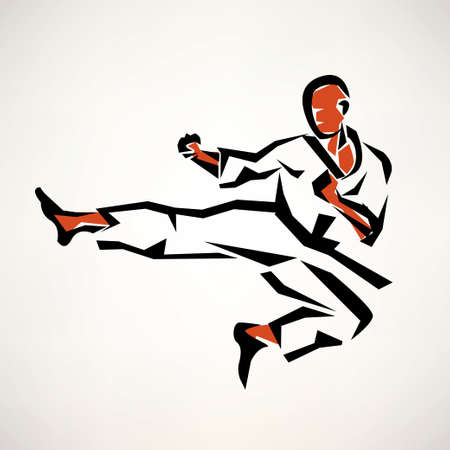 karate practice: karate fighter stylized symbol, outlined sketch