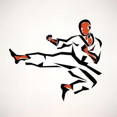 Karatevechter gestileerde symbool, geschetst schets Stockfoto - 38927349