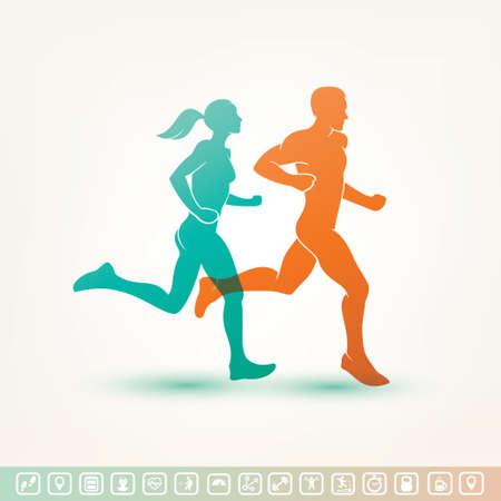 фитнес: работает мужчина и женщина силуэт, изложил векторный рисунок, фитнес-концепция, фитнес трекер иконки