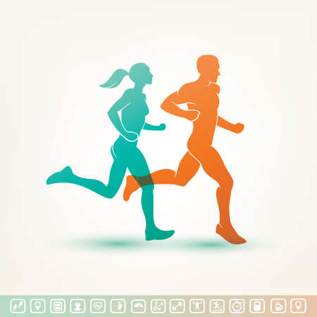 young couple: running man and woman silhouette, outlined vector sketch, fitness concept, fitness tracker icons Illustration