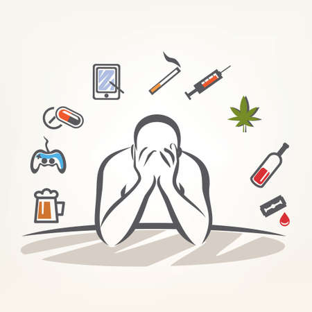 abuse: addict man and set of addiction symbols, outlined vector sketch