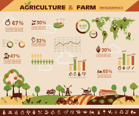 country farm: agriculture and farming infographics, vector icons collection