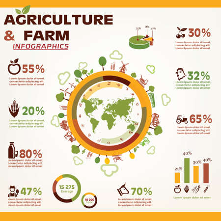 rural: agriculture and farming infographics, vector icons collection