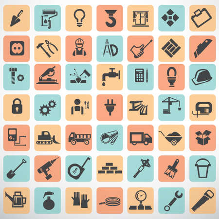 gardening tools: big set of work tools and construction icons and symbols