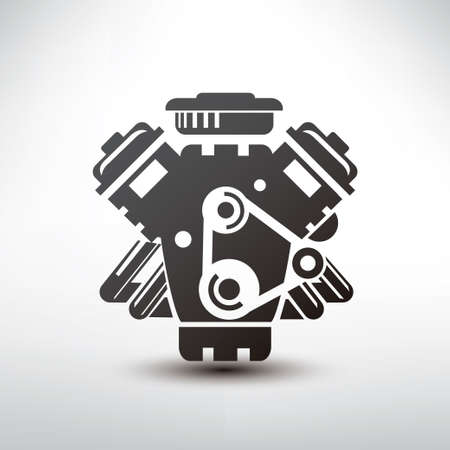car engine symbol, stylized vector silhouette of automobile motor Vector