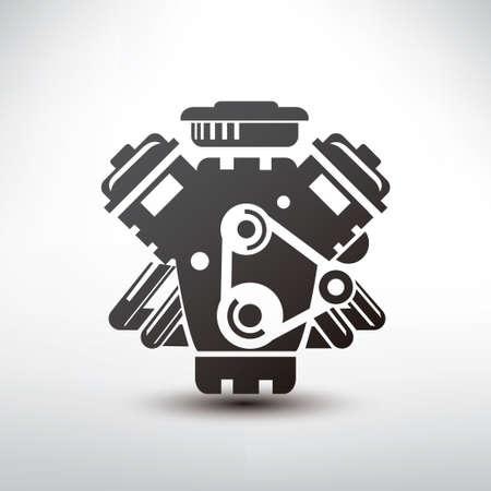 motor coche: símbolo de motor de coche, vector de la silueta estilizada de motor de automóvil