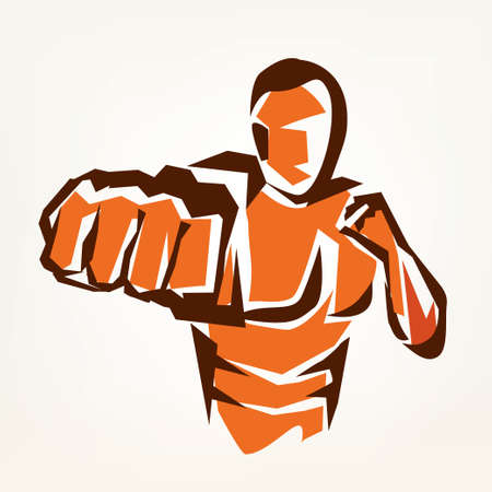 naked silhouette: stylized boxer silhouette, boxing symbol