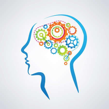 기어 만든 뇌와 남자의 머리는, 생각하고 농축 과정의 개념 일러스트