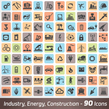 manufacturing occupation: big set of industry, engineering and construction icons and symbol, technology and process concept
