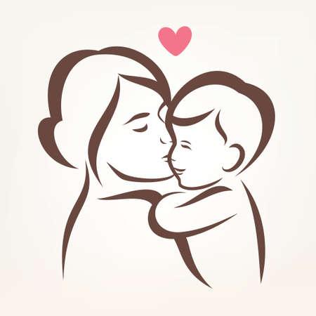 mamma e figlio: madre e figlio stilizzato vettore silhouette, delineato abbozzo di mamma e bambino