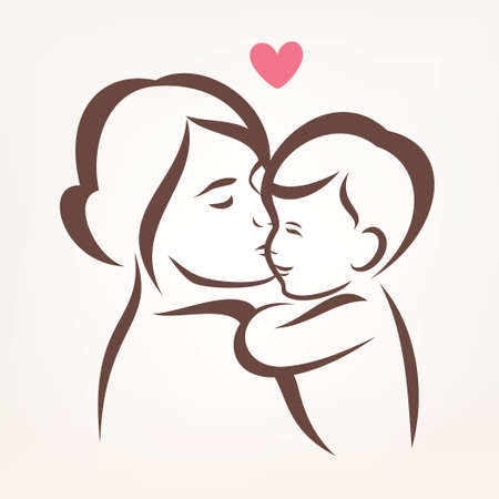 day care: mother and son stylized vector silhouette, outlined sketch of mom and child